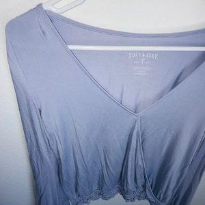 Lavender V-Neck Long Sleeve Top